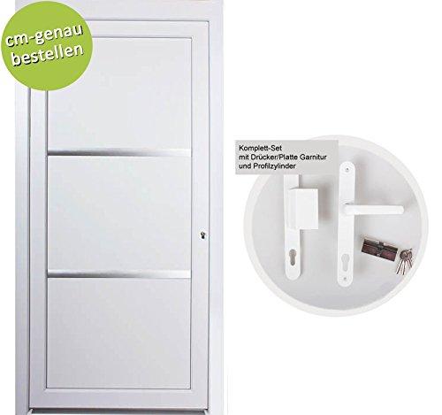 kuporta Kunststoff Haustür nach Maß Carbo Size weiß DIN rechts nach außen öffnend mit Drücker/Platte-Set