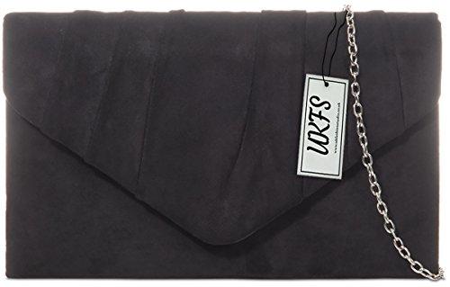 UKFS Damen Herbst Designer Samt-Umschlag-Abend-Handtasche Handtasche (Schwarz) (Samt-abend-handtasche)