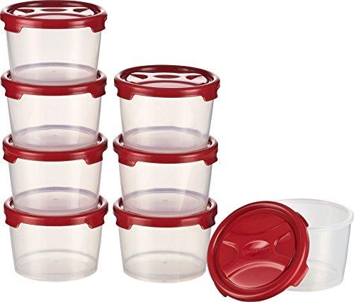 Kigima Frischhaltedosen Gefrierbehälter 300ml 8er Set rot