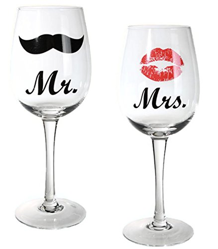 Bada Bing 2er Set Weinglas Mr and Mrs Paargeschenk Hochzeitsgeschenk Rotweinglas Weißweinglas...