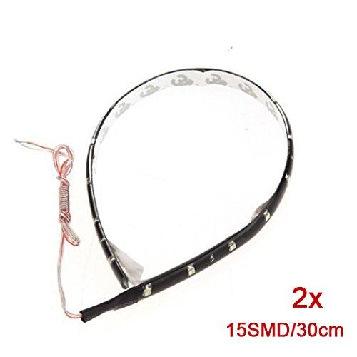 2 STRIP STRISCE FLESSIBILI 15 SMD LED BLU CM 30 STAGNO - Stagno Striscia