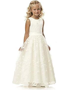 YoYodress Spitze Blumenmädchenkleider ärmellos Kinder Party Kleider mit Gürtel erste Kommunion Kleid