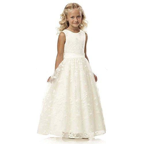 YoYodress Spitze Blumenmädchenkleider ärmellos Kinder Party Kleider mit Gürtel erste Kommunion Kleid (Alter 10, Elfenbein)