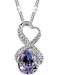 Lily joyas morado Cristal austríaco con cristales de Swarovski collar con colgante en forma con cristales Amethyst