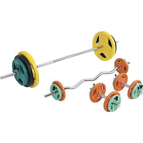 GORILLA SPORTS® Hantel-Set 108 kg Gummi Gripper - Langhantelstange, Kurzhanteln, SZ-Curlstange, Gewichten und Federverschlüssen