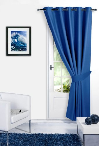 BLUE 66″ Width x 84″ Drop ( Only 1 Panel ) , Supersoft Thermal Blackout Curtain DOOR EYELET / RING TOP Bedroom Curtain 'Winter Warm but Summer Cool' by VICEROY BEDDING