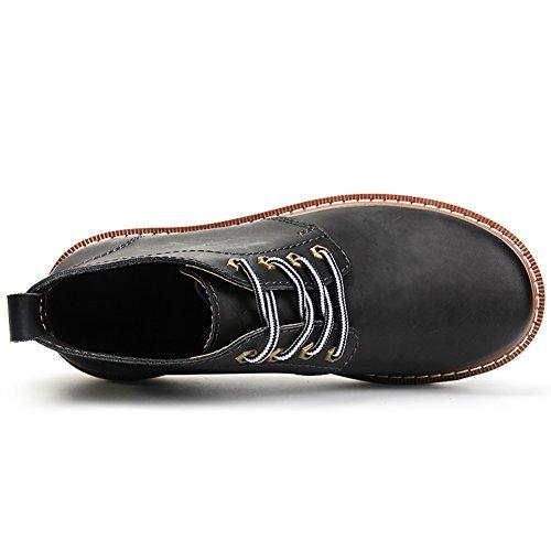 Rismart Hommes Automne-Hiver Confort Imperméable Cheville Martin Bottes Peluche Chaude à l'Intérieur Grande Taille noir-Fourrure
