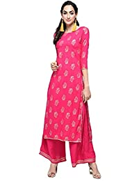 Stylum Women's Festive & Party Wear Rayon Gold Print Gota Lace Work Pink Straight Kurta Palazzo Set