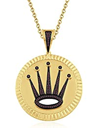 "Silvernshine 1.2 Ct Round Cut Red Garnet Crown Locket Pendant 18"" Chain In 14K Yellow Gold Fn"
