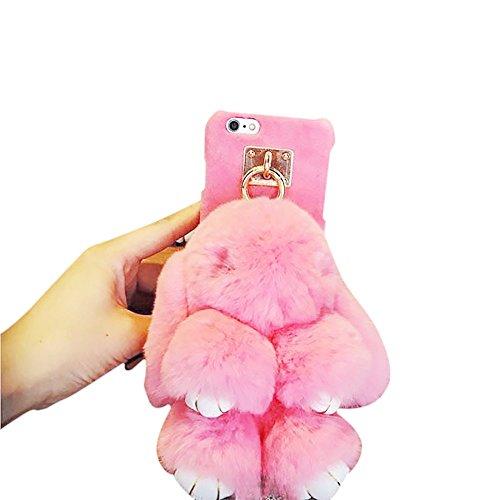 Preisvergleich Produktbild Rubility®Nette einzigartige Iphone6,  Iphone6s,  Iphone6 Plus,  Iphone7,  Iphone7Plus Abdeckungs-Fall mit toten Kaninchen-Plüsch-Verzierungen (iPhone 7Plus,  Rosa)