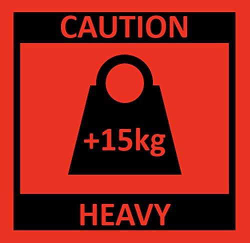 Warnetiketten auf Rolle - Caution Heavy +15kg für schwere Pakete - 250 Stück je Rolle - 100 x 100 mm - Leuchtrot Haftpapier stark haftend - Versandaufkleber - Paketaufkleber für Amazon Vendor & FBA Fulfillment