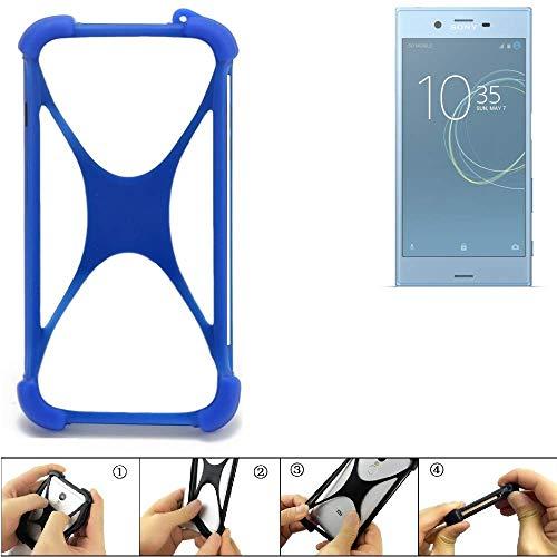 K-S-Trade Handyhülle Sony Xperia XZs Dual SIM Silikon Schutz Hülle Cover Case Bumper Silikoncase TPU Softcase Schutzhülle Smartphone Stoßschutz, blau (1x)
