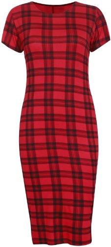 Tartan femmes imprimé carreaux femmes mancheron Col Rond Extensible Robe midi Bodycon taille ample Rouge