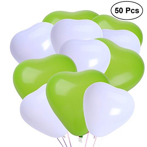NUOLUX 50pcs látex del corazón globos hincha 10 pulgadas 2.2g creativo Party los globos que la decoración suministra (Blanco + verde)