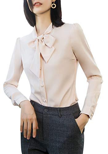 LISUEYNE Damen Büro-Blusen mit Knopfleiste für Frauen mit Schleife, Bandage für Frauen Gr. Large, Beigets-6100y - Schwarzes Jersey, Drape-Ärmel Top