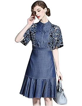 cola de pescado encaje bordado vestido de dril de algodón de 2017 nuevas mujeres , l
