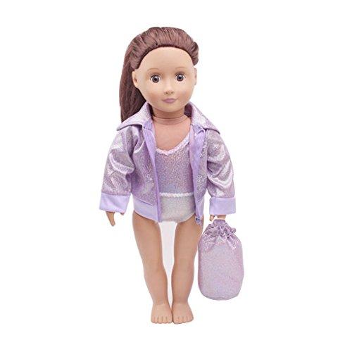 P Prettyia 3-teilig Mode Puppe Kleidung Badeanzug mit Mantel und Rucksack Outfit für 18 Zoll Puppe - ()