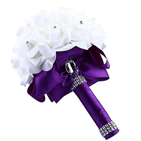 Covermason Bride Bouquet, Crystal Roses Bridesmaid Wedding Artificial Silk Flowers Home Decor