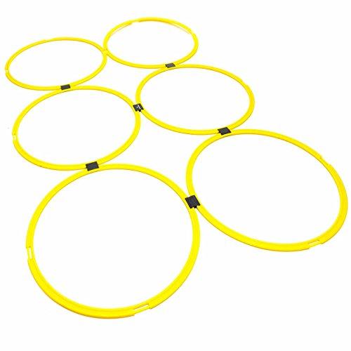 #DoYourFitness® 6X Koordinationsringe - Größe 39cm o. 49cm - Steckverbindung BZW. Stecksystem - Agility Rings/Koordinationsgitter zur Steigerung Schnelligkeit/Beweglichkeit 49cm(gelb)
