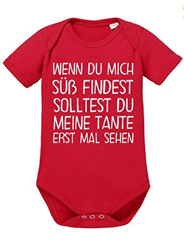 clothinx Baby Body Unisex Wenn Du Mich Süß findest solltest du erst mal Meine Tante sehen Rot/Weiß Gr. 74-80 (Ersten Mal Vater Geschenke)