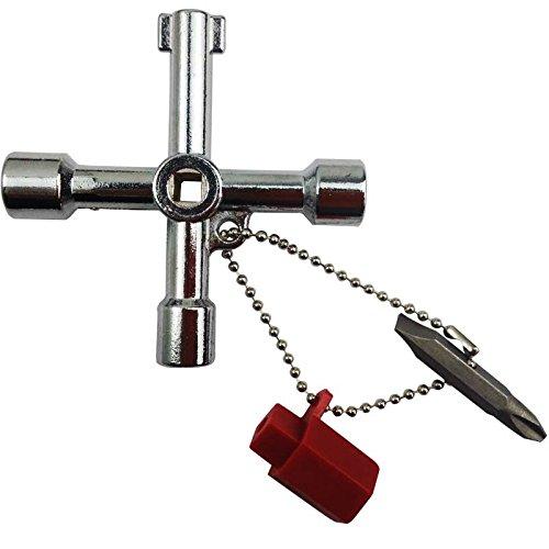 Clé croisée multifonction, clé multifonction, clé multifonction, clé universelle de placard de commande pour radiateurs, compteur de boîte, placards électriques à gaz