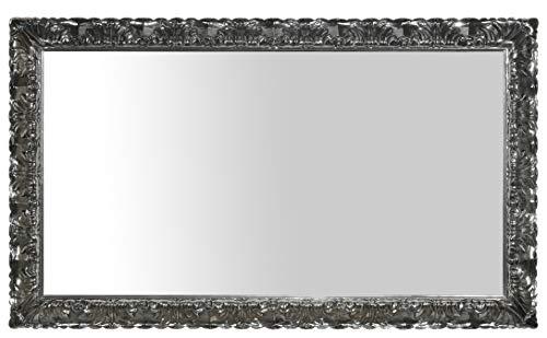 Miroir Mural avec Cadre Classique en Bois Fini à la Main laqué chromé Gris Brillant. Cm.88x148 Fabriqué en Italie
