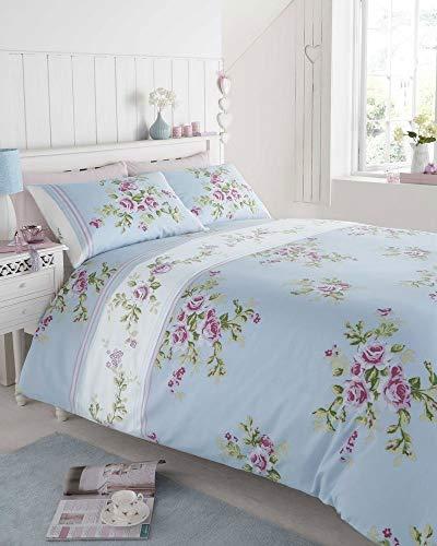 Bettdeckenbezug, 100% Baumwollflanell, Doppelbettgröße, Blau mit rosa Blumenmuster - Cottage Standard-quilt