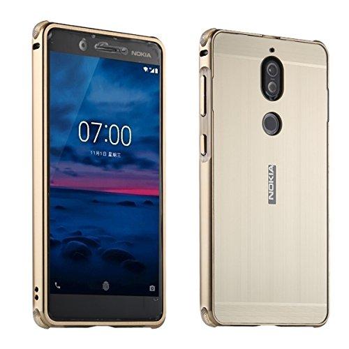 Nokia 7 UltraSlim Case Premium Aluminium Schutzhülle Rahmen für Nokia 7, Gold