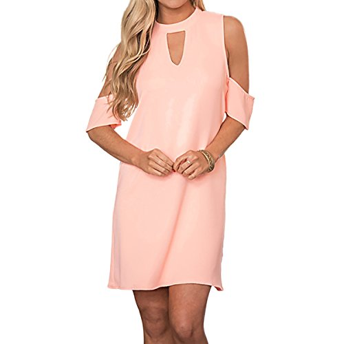 SG Choker V-Ausschnitt Schulterfrei Minikleid Shift Kleid Rosa