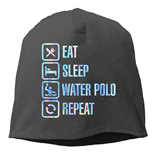 DHNKW Eat Sleep Water Polo Repeat Winter Beanie Skull Cap Warm Knit Ski Slouchy Hat Durable Womens Knit Warm Up Jacket