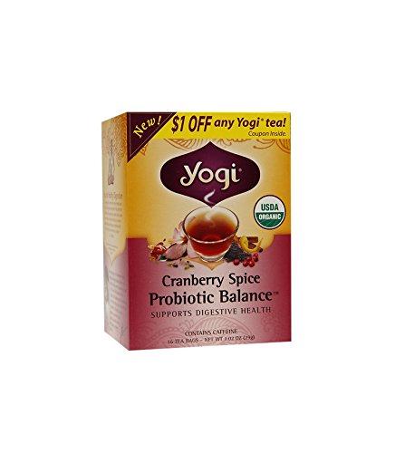 Yogi Tea Organic Digestive Support Probiotic Balance Cranberry Spice 16 Bags Case Of 6