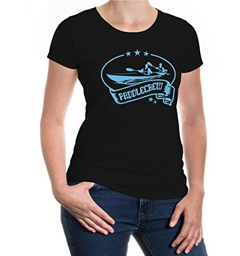 buXsbaum® Girlie T-Shirt Paddlecrew Black-Skyblue