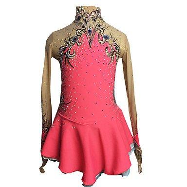 Für Anfänger Kostüm Herstellung - Heart&M Eiskunstlauf Kleid für Mädchen Frauen Eislaufen Wettbewerb Leistung Strass Applikationen Handgemalte Handgefertigte Skating Tragen Lange Ärmel Rosa, 12