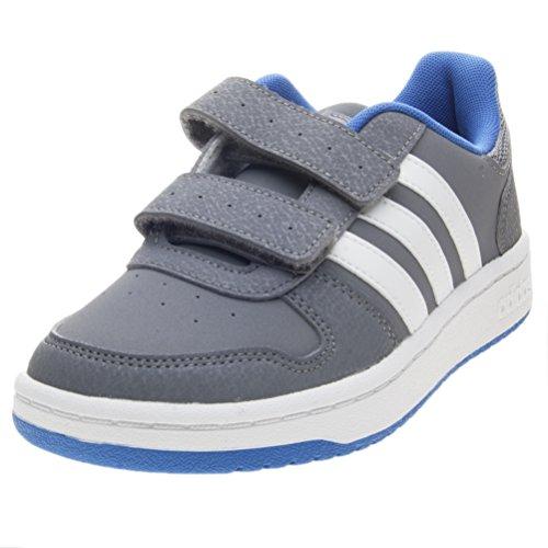 adidas Unisex-Kinder Hoops 2.0 CMF C Basketballschuhe, Mehrfarbig (Grey/FTWR White/Blue B75959), 32 EU