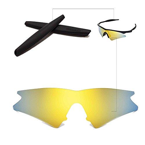 Walleva Wechselgläser Und Earsocks für Oakley M Frame Sweep Sonnenbrille - Mehrfache Optionen (24K Gold Polarisierte Linsen + Schwarzer Gummi)