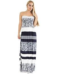 Fast Fashion Damen Maxi Kleid Plus Größe Leopardstreifen Tie Dye Blumendruck
