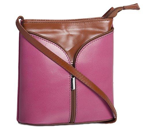Big Handbag Shop Borsetta piccola a tracolla, vera pelle italiana Pink & Tan