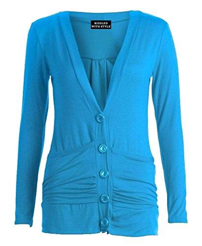 Neuf Cardinan pour femmes à manches longues bouton poche Boyfriend Jumper Grande taille Bleu - Turquoise