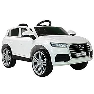 HOMCOM Kinderauto Kinderfahrzeug Elektroauto Audi Q5 mit Fernbedienung Kinder Weiß 116 x 75 x 56cm