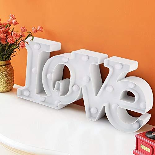 Letter Led Night Light Bedroom Decoration Night Lampe Wandtisch Licht Für Hochzeitsfeier Valentines Day weiß ()