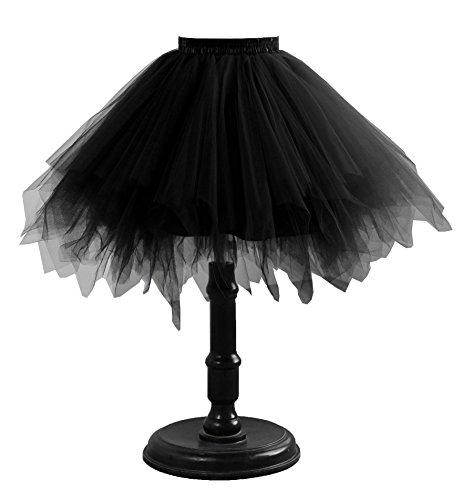 Changuan Damen Vintage kurze Petticoat Rock Ballett Bubble Tutu mehrfarbige Pettiskirt Schwarz