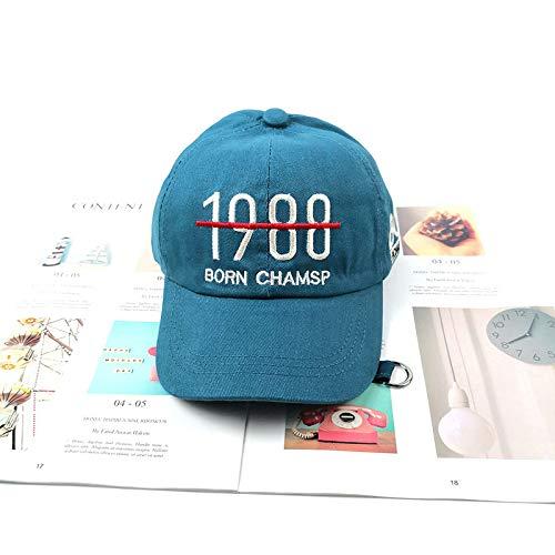 qqyz Kinder-Baseball-Kappe Koreanische Version 1988 Stickalphabet Niedlich Schöne Straße-Shading-Kappe Tide Karte Atmungsaktiv Hundert Fahrt S Lake Blue