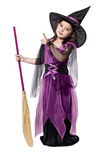 Costume Strega - Bambina - Viola - Nero - Halloween - Carnevale - Taglia L - 6-7 anni - Idea regalo per natale e compleanno