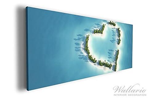 Wallario XXXL Riesen- Leinwandbild Insel mit Herz - 80 x 200 cm in Premium-Qualität: Brillante lichtechte Farben, hochauflösend, verzugsfrei