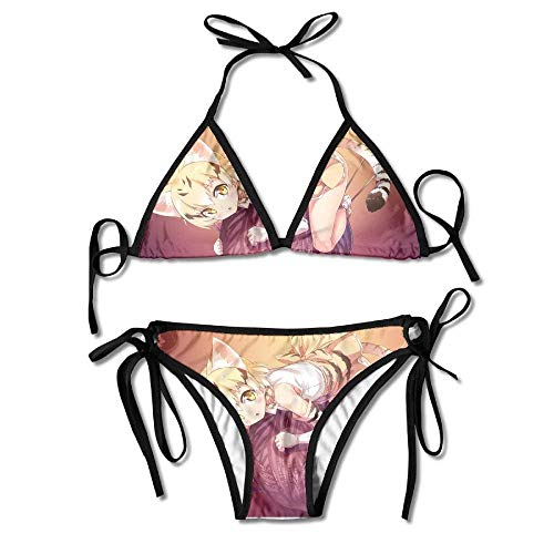 Sexy Triangle Bathing Two Pieces Anime Cartoon Cat Girl Wool Ball Ladies Summer Beach Outfit Fashion Sexy Bikini Two-Piece Swimsuit High Elasticity Adjustment