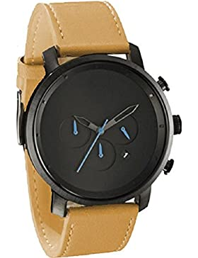Tyler Hancock Uhren für Männer Retro Quartz matt Leder braun