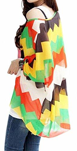 Minetome Femmes Batwing Bohême Imprime Impression en vrac Bat Manches 3/4 en mousseline de soie shirt Blouse Top Jaune