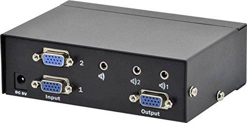 DIGITUS Professional VGA Video Switch / Umschalter, 2 Eingänge - 1 Ausgang, 250MHz, bis 1920x1080 Pixel, inkl. Netzteil