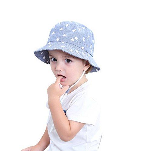 Dinokids Unisex-Baby 100% Baumwolle Spielen Safari Sonne Hüte Kübel doppelseitig Brim Sterne Kordelzug 54cm 4-8 Jahrs Licht Blau -