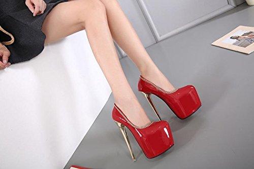 LvYuan-mxx Femmes chaussures à talons hauts / printemps été / imperméable plateforme peu profonde chaussures princesse bouche / Nightclub sexy / Bureau et carrière Robe de banquet / talon aiguille / s RED-US85EU39UK65CN40